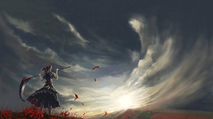 clouds, anime, Onozuka Komachi, scythe, ponytail, field, touhou, anime girls, sky