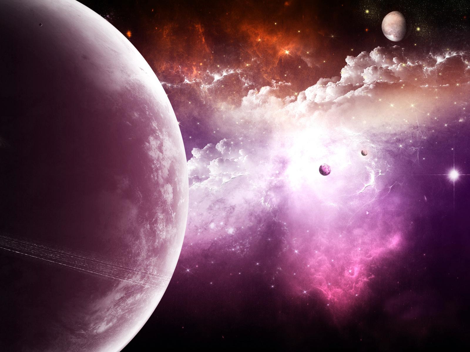 ракурс, сереневый космос, планета, космос