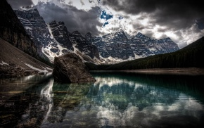 water, rock, Banff National Park, mountain, clouds, Moraine Lake