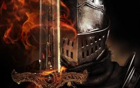 видео игры, Dark Souls, фантастическое исскуство, произведение искусства, шлем, огонь, цифровое искусство, рыцари, меч