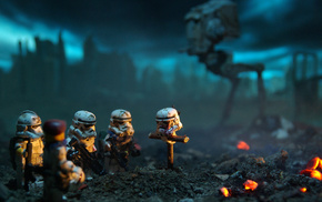 Star Wars, stormtrooper, depth of field, LEGO, miniatures, Battlefield