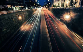road, street, urban, light trails, lights