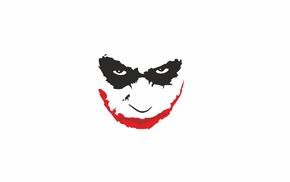 Joker, black, red, eyes, minimalism, abstract