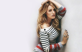 striped clothing, blonde, Blake Lively, simple background, hands on head, actress