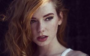 Hattie Watson, freckles, face, redhead