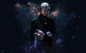 костюмы, вселенная, космос, куб, шлем, произведение искусства, футуризм