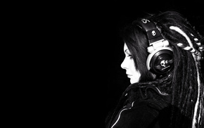 monochrome, dreadlocks, black, headphones, girl, black background