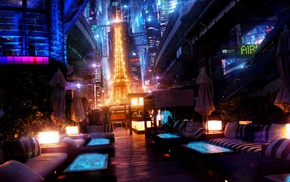 digital art, cyberpunk, colorful, Japan