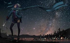 девушки из аниме, Senjougahara Hitagi, ночь, звезды, аниме