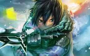 snow, Sword Art Online, dark hair, anime, artwork, black eyes