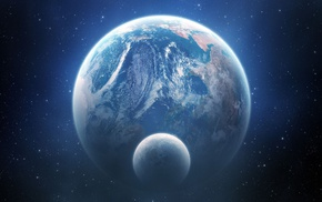 space, Earth, space art, planet, moon