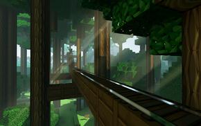 железная дорога, деревья, Minecraft, солнечные лучи
