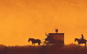carriage, orange, Django Unchained, horse, movies, Quentin Tarantino