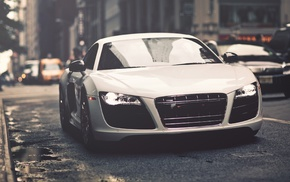 car, white cars, Audi R8, Audi
