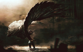 fantasy art, digital art, drawing, wings, angel