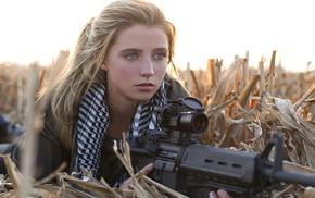 фотография, оружие, девушка, пулемет