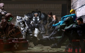 StarCraft, video games, John Shepard, Master Chief, Dead Space, bodysuit