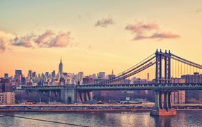 New York City, Manhattan Bridge, Empire State Building, bridge, building, cityscape