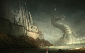rock, redhead, sea monsters, digital art, creature, water