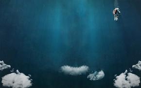 clouds, diving suits, scuba diving, artwork
