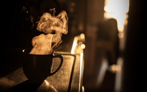 mugs, silhouette, sunlight, coffee, smoke
