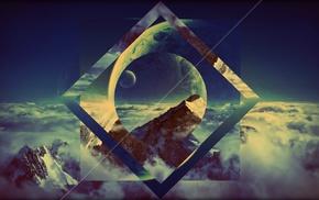 universe, shapes, anime, planet, vignette, clouds