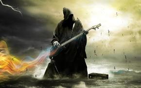 water, skeleton, lightning, guitar, Grim Reaper, death