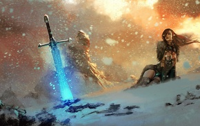 mountain, snow, girl, fantasy art, sword, video games
