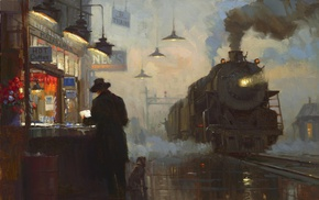 painting, classic art, train, train station, signs, railway