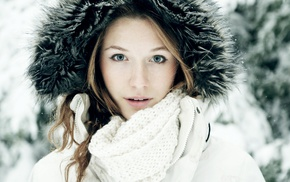 blonde, blue eyes, winter, girl, snow, face
