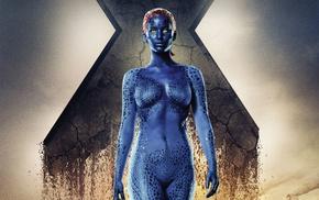 superheroines, X, Men, yellow eyes, Jennifer Lawrence, Mystique