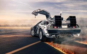 fire, car, supercars, DeLorean, smoke, movies