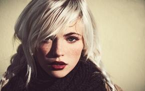 girl, blue eyes, platinum blonde, portrait, Devon Jade, face