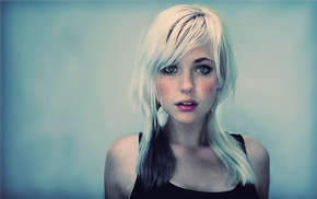 blonde, girl, white hair, makeup, lipstick, Devon Jade