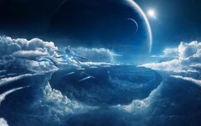 синий, космический корабль, космос, облака, корабль