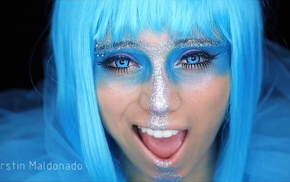 Pentatonix, Kirstin Maldonado, teeth, dyed hair, eyelashes, closeup