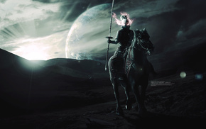 planet, fantasy art, digital art, horse, warrior