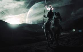 планета, фантастическое исскуство, цифровое искусство, лошадь, воин