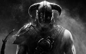 video games, selective coloring, blue eyes, warrior, The Elder Scrolls V Skyrim