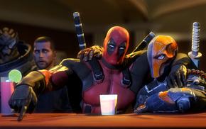 video games, bar, Garrus Vakarian, Deadpool, Deathstroke, Mass Effect