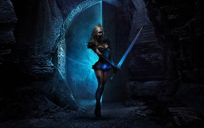 fantasy art, sword, blonde, girl
