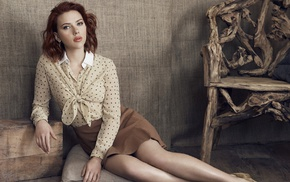 redhead, vintage, wood, chair, actress, sitting, Scarlett Johansson, girl