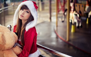 brunette, Asian, Santa costume, long hair, girl, Agnes Lim