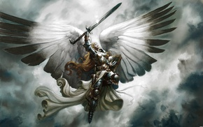 Magic The Gathering, sword, wings, Serra Angel, angel, armor