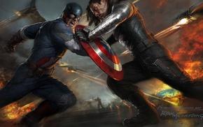 concept art, Captain America, movies, Bucky Barnes, Captain America The Winter Soldier, fighting