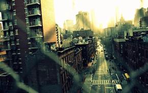 fence, road, New York City, urban