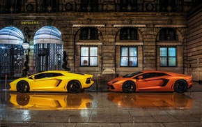 yellow, italian cars, car, Lamborghini Aventador, mid, engine
