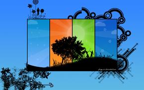 tree, stripes, people, colors