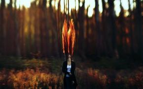 рыжие, волнистые волосы, глубина резкости, длинные волосы, солнечный свет