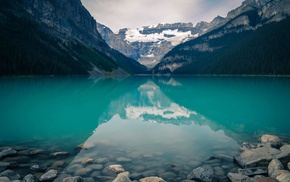 reflection, Alberta, lake, mountain, rock, Banff National Park